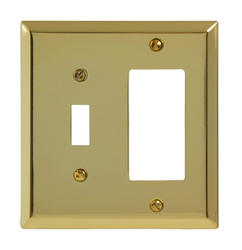 Century Polished Brass Stamped Steel 1 Toggle 1 Rocker Wallplate