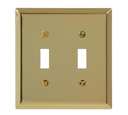 Traditional Bright Brass Double Toggle Wallplate