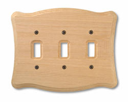 Tavern Unfinished Wood Triple Toggle Wallplate