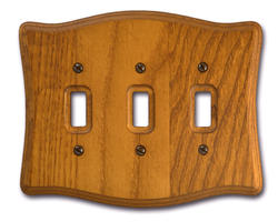 Tavern Oak Wood Triple Toggle Wallplate