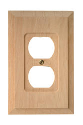 Unfinished Solid Wood Duplex Wallplate
