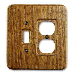 Heritage Red Oak Wood 1 Toggle 1 Duplex Wallplate