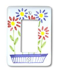 Flower Box Ceramic 1 Rocker Wallplate