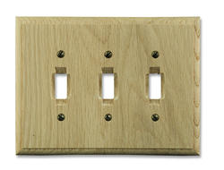 Traditional Unfinished Oak Triple Toggle Wallplate