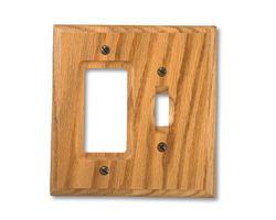 Carson Light Finish Oak Wood 1 Toggle 1 Rocker Wallplate