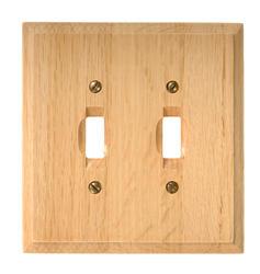 Traditional Light Oak Wood Double Toggle Wallplate