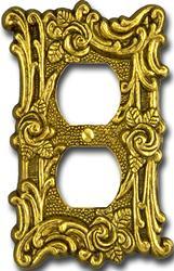 Provincial Antique Brass Cast Metal 1 Duplex Wallplate