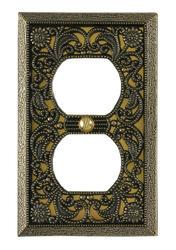 Filigree Antique Brass Cast Metal 1 Duplex Wallplate