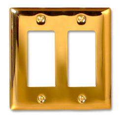 Madison Polished Brass Solid Brass Cast Metal 2 Rocker Wallplate