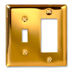 Madison Polished Brass Solid Brass Cast Metal 1 Toggle 1 Rocker Wallplate
