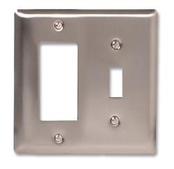 Madison Polished Nickel Solid Brass Cast Metal 1 Toggle 1 Rocker Wallplate
