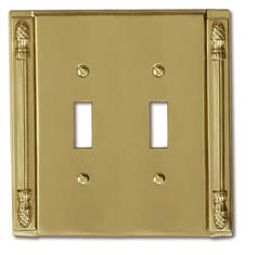 Pineapple Accent Cast Solid Brass Double Toggle Wallplate