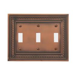 Filigree Border Antique Copper Triple Toggle Wallplate