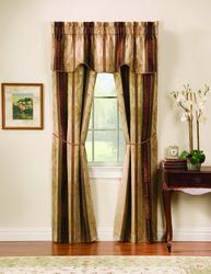 "Window Accents Tuscan Stripe Drapery Panel 5pc Set 56"" x 63"""