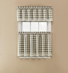 "Window Accents Norwalk Plaid Tier Set 58"" x 24"""