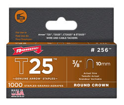 """Arrow® T-25 3/8"""" Round Crown Staples (1,000-Pack)"""