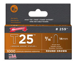"""Arrow® T-25 9/16"""" Round Crown Staples (1,000-Pack)"""