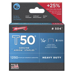 "Arrow® T-50 1/4"" Heavy-Duty Staples (1,250-Pack)"