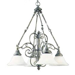 "Aztec Lighting  21"" Antique Pewter 4-Light Chandelier"