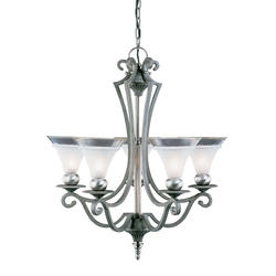 "Aztec Lighting Saxony 25"" Tuscan Gold/Pewter 5-Light Chandelier"
