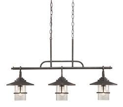 "Patriot Lighting® Elegant Home Miner 36"" Bronze 3-Light Island Pendant Light"