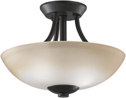 "Patriot Lighting® Elegant Home Amelia 15"" Tannery Bronze 2-Light Semi-Flush Mount"
