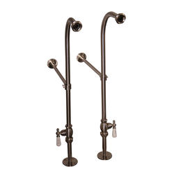 Barclay Freestanding Bath Supplies with Stops, Porcelain Handles