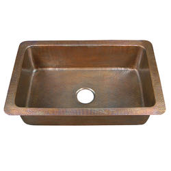 "Barclay 32"" Single Bowl Copper Drop-In Kitchen Sink"