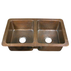 "Barclay 34"" Double Bowl Copper Drop-In Kitchen Sink"