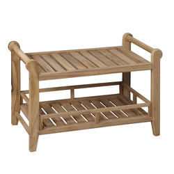 "Barclay 29"" Teak Rectangular Slatted Shower Seat with Handles"