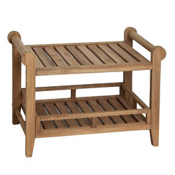 "Barclay 27"" Teak Rectangular Slatted Shower Seat with Handles"
