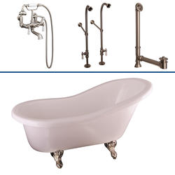 """Barclay Tub Kit 60"""" Acrylic Slipper Tub in White with Tub Filler, Supplies and Drain in Brushed Nickel"""