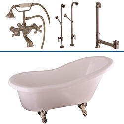 "Barclay Tub Kit 60"" Acrylic Slipper Tub in White with Tub Filler, Supplies and Drain in Brushed Nickel"