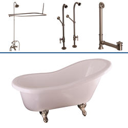 """Barclay Tub Kit 60"""" Acrylic Slipper Tub in White with Shower Unit, Supplies and Drain in Brushed Nickel"""