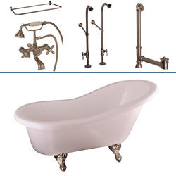 """Barclay Tub Kit 60"""" Acrylic Slipper Tub in White with Filler, Shower Rod, Supplies and Drain in Brushed Nickel"""