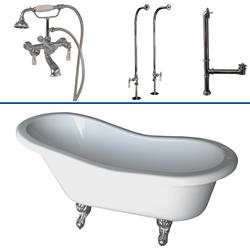 "Barclay Tub Kit 60"" Acrylic Slipper Tub in White with Tub Filler, Supplies and Drain in Chrome"