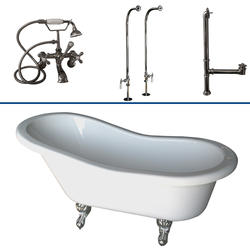 """Barclay Tub Kit 60"""" Acrylic Slipper Tub in White with Tub Filler, Supplies and Drain in Chrome"""