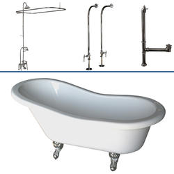 """Barclay Tub Kit 60"""" Acrylic Slipper Tub in White with Shower Unit, Supplies and Drain in Chrome"""