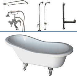 """Barclay Tub Kit 60"""" Acrylic Slipper Tub in White with Filler, Shower Rod, Supplies and Drain in Chrome"""