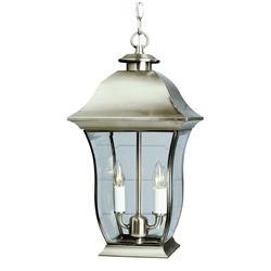 """Bel Air Lighting Halden 2 Light 18 """" Brushed Nickel Outdoor Pendant"""