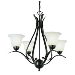 "Bel Air Lighting Ribbon Branched 4 Light 22"" Oil Rubbed Bronze Chandelier"
