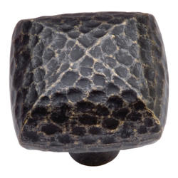 """Hickory Hardware Mountain Lodge Collection 1-1/4"""" Square Hammered Texture Knob"""