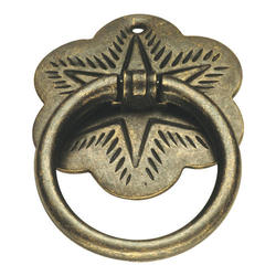 Hickory Hardware Palmetto Collection Windover Antique Ring Pull with Hexagram Backplate