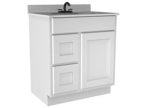 Briarwood 30 w x 18 d x 34 1 2 h cottage vanity sink drawers left at menards - Menards bathroom wall cabinets ...