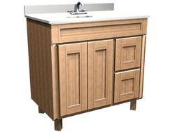 """Briarwood 36"""" W x 21"""" D x 34-1/2"""" H Centerpoint Vanity Sink (Drawers Right)"""