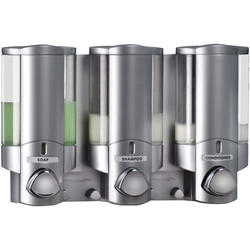 AVIVA III Satin Silver Translucent Bottles with Chrome Buttons