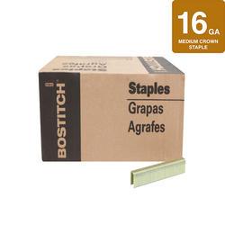 """Bostitch® 1/2"""" Crown x 1-3/8"""" Leg 16-Gauge Brite Finish Medium Crown Staples - 14,250 ct."""