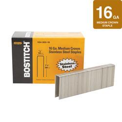"Bostitch® 1/2"" Crown x 1-1/2"" Leg 16-Gauge Stainless Steel Medium Crown Staples - 1,050 ct."