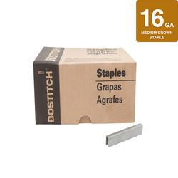 """Bostitch® 1/2"""" Crown x 1-5/8"""" Leg 16-Gauge Brite Finish Medium Crown Staples - 14,250 ct."""