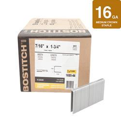 "Bostitch® 7/16"" x 1-3/4"" Leg 16-Gauge Brite Finish Medium Crown Staples - 12,600 ct."